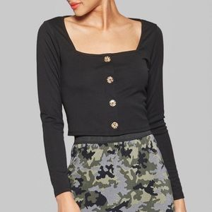 NWT 🌵 Wild Fable Square Neck Long Sleeve Crop Top